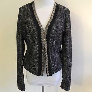 INC Edgy Black & Silver Tweed Beaded Blazer M